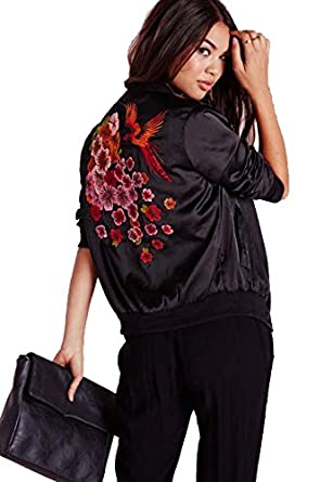 Womens Oriental Embroidered Satin Bomber Jacket Black - Size : 4 ...