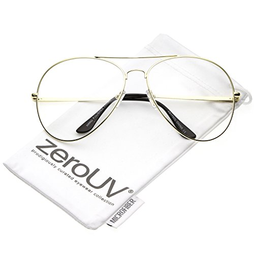zeroUV - Classic Oversize Metal Double Crossbar Teardrop Clear Lens Aviator Eyeglasses 63mm (Gold / - Sunglasses Jeepers Aviator Peepers