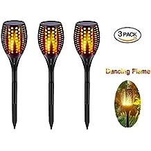 Bestglobal Waterproof Solar Garden Lights,Solar Powered LED Flame Effect Light, 96 LED lantern lighting Outdoor Landscape Decoration Path Lighting, Dusk to Dawn Auto On/Off, (3PCS)