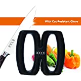 KUTT Knife Sharpener, 2 Stage Adjustable Sharpening System, Ergonomic Kitchen Knives X Sharpener Set, Sharpen Dull Knives, Quick Safe and Easy to Use, Cut Resistant Glove in Luxury Gift Box