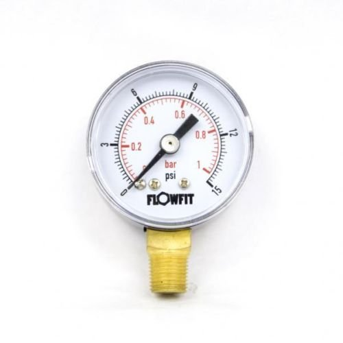 40mm Dry/Pneumatic pressure gauge 0-15 PSI (1 BAR) 1/8' bspt base entry Flowfit