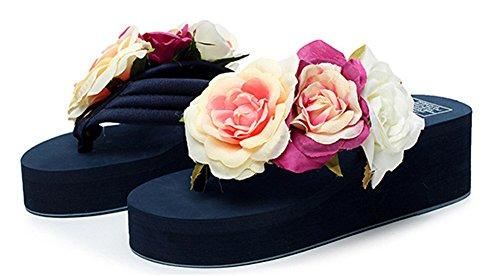 Flip Bleu Été Talon compensé Flops Night décorées Beach Coloré Good sandale Roses ZqzxU