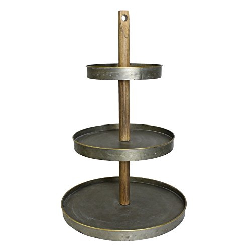 Rustic Metal Wood 3 Tiered Serving Stand | Cupcake Tabletop Level