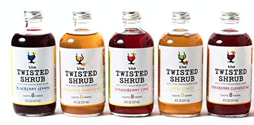 The Twisted Shrub | 5-Flavor Variety Pack | Apple Cider Vinegar Drink Mixers for Healthier Sodas & Cocktails -
