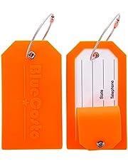 BlueCosto 2X Silicone Etiquettes Bagages Etiquette Voyage Valise Baggages étiquettes à Bagage - Orange