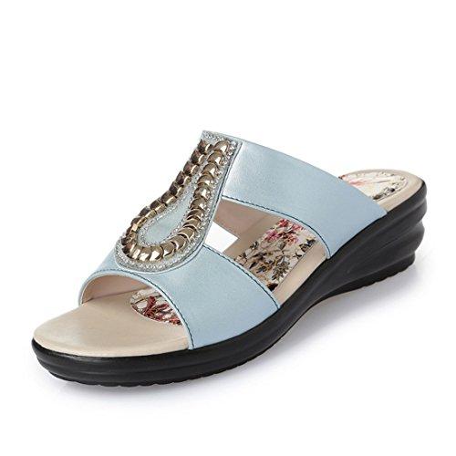 Señoras Zapatillas a Prueba de Agua de Mesa, Fondo Grueso Sandalias comodas Women 's Cool Zapatillas, Fondo Grueso Sandalias de Moda. blue