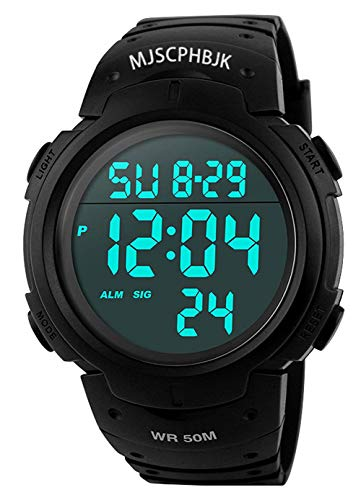 MJSCPHBJK Mens Digital Sports Watch, Waterproof LED Screen Large Face Military Watches and Heavy Duty Electronic Simple Army Watch with Alarm, Stopwatch, Luminous Night Light - Black (Black) (Proof Watches Men For Shock)