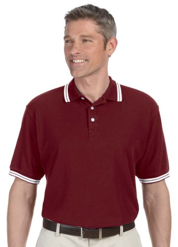 Chestnut Hill CH113 Mens Tipped Performance Plus Polo - Merlot/White - 4XL - Hills Merlot