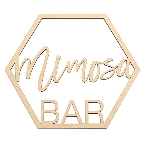 Koyal Wholesale Wood Mimosa Bar Sign, Wedding Display, Party Banner, Event Decorations for Wedding Engagement Bridal Shower Ladies Brunch Birthday Party (Mimosa Bar)
