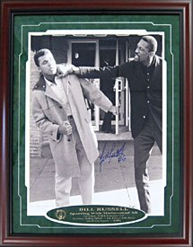 Bill Russell Autographed / Signed Framed Throwing a Punch at Muhammad Ali 16x20 Photo