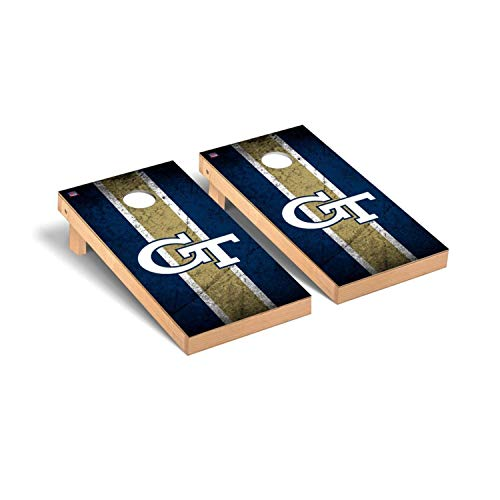Victory Tailgate Regulation Collegiate NCAA Vintage Series Cornhole Board Set - 2 Boards, 8 Bags - Georgia Tech Yellow Jackets
