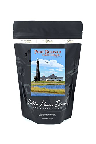 Port Bolivar, Texas - Lighthouse (8oz Whole Bean Small Batch Artisan Coffee - Bold & Strong Medium Dark Roast w/ (Texas Lighthouse)