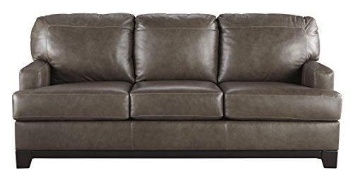 Natuzzi Leather Furniture - Ashley Furniture Signature Design - Derwood Contemporary Leather Cushioned Sofa - Pewter