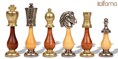 Large Italian Arabesque Staunton Metal & Wood Chess Set by -