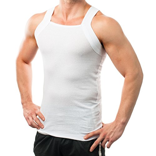 Different Touch Men's G-unit Style Tank Tops Square Cut Muscle Rib A-Shirts -  Large - White, Pack of 2 (2xist Undershirt Men)