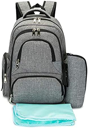 Black Four-Piece Large Capacity 16 Pockets Oxford Baby Diaper Nappy Backpack Organizer Smart Organizer Waterproof Travel Diaper Backpack with Change Pad and Stroller Straps