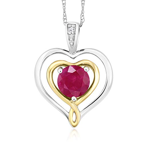 2 Tone Diamond Heart - Gem Stone King 10K 2-Tone Gold Diamond Accent Double Heart Shape Pendant Round Ruby 0.55 Ct