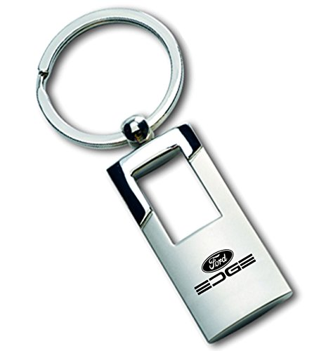 Ford Edge Chrome and Brushed Metal Key Chain Ring Fob with Racing Decal - Edge Key Ring