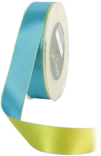 May Arts 1-Inch Wide Ribbon, Blue and Green Reversible Satin