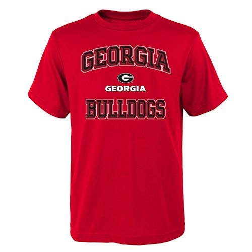 NCAA Georgia Bulldogs Youth Boys Game Time Basic Tee, Youth Boys Large(14-16), Red