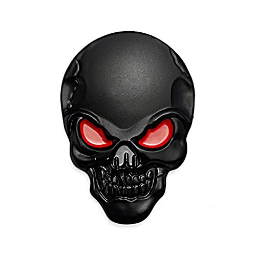 Melva R. Schwartz Bumper Stickers, Decals - Car Stickers and Decals Custom,1Pc 8x5.5cm Silver 3D Skull Metal Auto Motorcycle Sticker Emblem Badge car Styling for Ford Chevrolet Focus - Black red