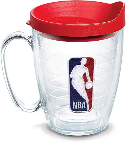 Tervis 1062447 NBA National Basketball Association Logo Tumbler with Emblem and Red Lid 16oz Mug, Clear