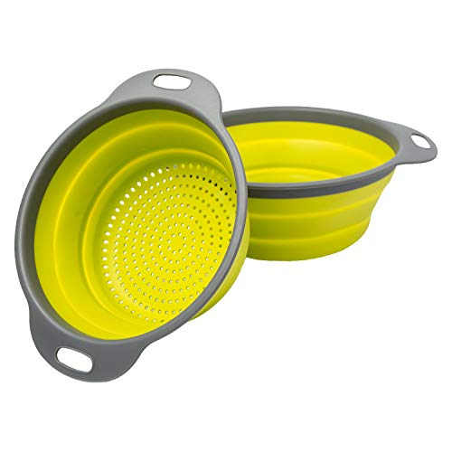 """Colander Set - 2 Collapsible Colanders (Strainers) Set By Comfify - Includes 2 Folding Strainers Sizes 8"""" - 2 Quart and 9.5"""" - 3 Quart Green and Grey"""