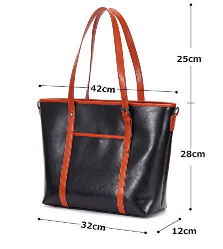 83afbd547c Amazon | ANDA ME New Styleレディーストートバッグ ショルダーバッグ スブリットレザー 大容量 A4 通勤  男女兼用(ブラック) | ANDA ME | ハンドバッグ