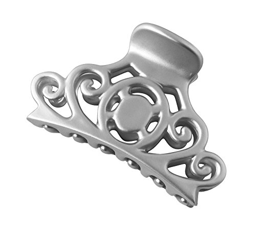 Braid Pastel Satin (Zhooch Hair Claw Clip – Vintage Venzel. Claw Hair Clip with Inner Teeth, Premium quality, Painted Strong Hold Spring, for Thick Hair and Medium Hair types, Grey hair. (Satin Silver))