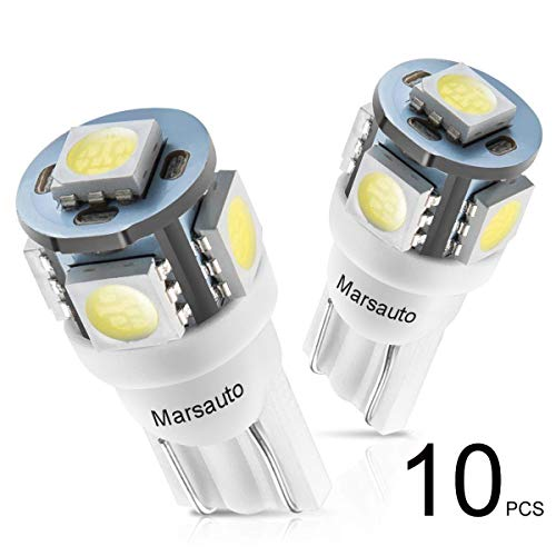 Marsauto 194 LED Light Bulb 6000K 168 T10 2825 5SMD LED Replacement Bulbs for Car Dome Map Door Courtesy License Plate Lights (Pack of 10) ()