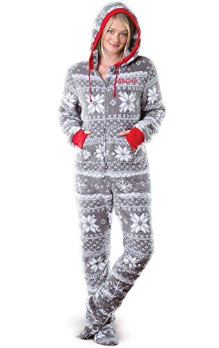 PajamaGram Personalized Nordic Fleece Women's Onesie Pajamas, Gray, XSM 2-4