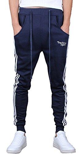 Navy Blue Tracksuit (Keybur Mens Jogging Pants Tracksuit Bottoms Running Trousers Hiphop Dance Jogger (L, Navy Blue))
