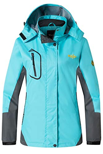 (Wantdo Women's Hooded Windbreaker Raincoat Hiking Camping Sports Jacket Blue M)