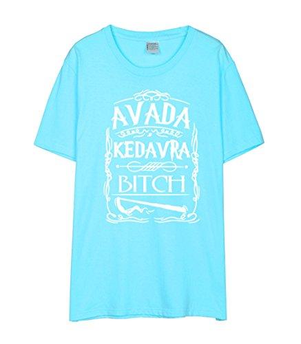 Manica Stampate Rotondo Blue2 Kedavra Camicetta Collo Popolare T Maglietta Gogofuture Bluse shirts Moda Corta Avada Donna Classico Tops Estive aIxvWRSp