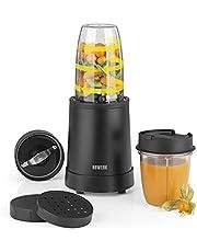 N8WERK Nutrition Mixer i Midnight Edition | Stå mixer | för smoothies och cocktails | Ice Crush | Blad av rostfritt stål | med 700 ml och 350 ml blandningsbehållare | med to-go lock | 800 watt