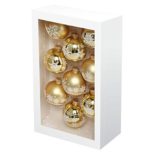 Costyleen Christmas Decoration Colorful Glass Balls Ornaments Set Festival Home Party Decors Xmas Tree Hanging Pendant Snowflake Printing 9pc Gold 2.7in