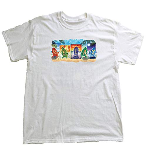 Chair Margarita - Good Life Mens 100% Cotton T-Shirt Short Sleeve Hawaiian Beach Scenery (3XL, White Relax Chairs)