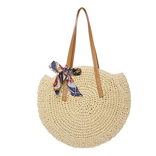 Women Round Straw Bag Large Summer Beach Straw Tote Bag Woven Purse Handle Shoulder Bag for Women Vocation Handbags