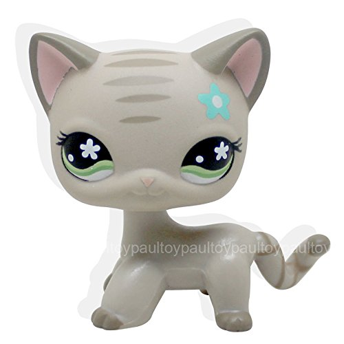 LHJ #483 RARE Littlest Pet Shop LPS Gray Short Hair CAT Green Eyes Blue Flower - Kittery Stores In