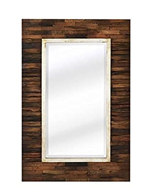 Majestic Mirror Modern Decorative Hanging Accent Mirror w/ Natural Wood Frame