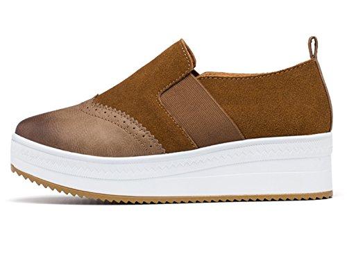 Unn Mujer Slip On Platform Gamuza Penny Loafers Cuña De Tacón Alto Mocasines Walking Sneakers Khaki