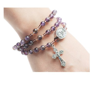 - 6mm Genuine Amethyst Beads Full Rosary Stretchable and Twistable Bracelet