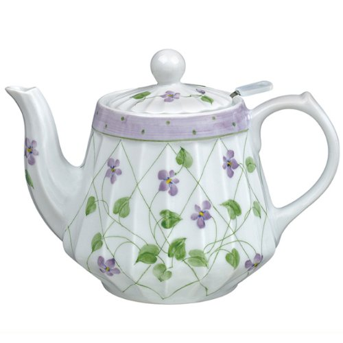 Andrea By Sadek Violet Polka Dots Ribbed Teapot (Violets Teapot compare prices)