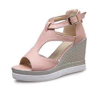 Sandalias Primavera Verano Otoño Zapatos Club Oficina de microfibra & Carrera visten casual tacón cuña Zipper hebilla azul beige rosa Blushing Pink