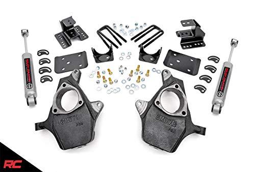 08 Drop Kit - Rough Country Lowering Kit Compatible w/ 2007-2014 Chevy Silverado GMC Sierra 1500 2WD 2