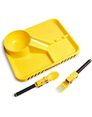 Dinneractive Dining Set For Kids - 3PC Yellow Firefighter Dinnerware - Fire Truck Utensils - Toddler Plates - Baby Dishes