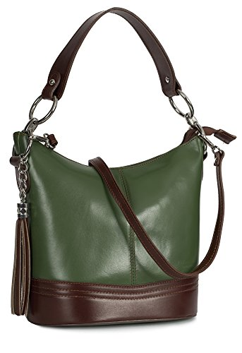 Green Shoulder Italian Womens Nikki Handbag Satchel Handle Trim Medium Bucket Leather Liatalia Shape Brown Top a7wz5g5x