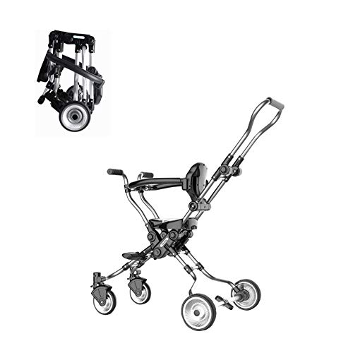 Lightweight Folding Stroller - Children's Toddler Four-Wheeler Stroller Four-Wheeler Scooter, Easy to Fold, Safe Without Tumbling, Aviation Aluminum Frame and Safety Fence for 1-5 Year Old Boys and