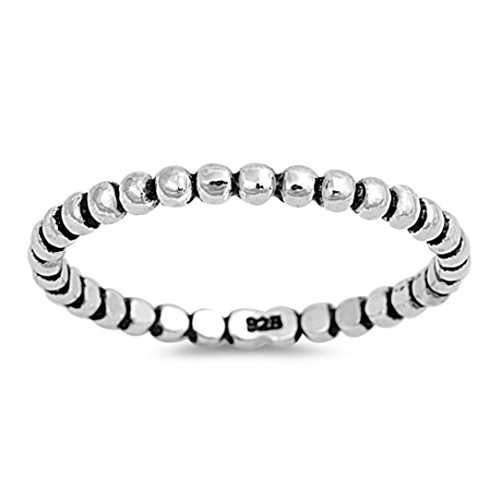 Bead Sterling Silver Toe Ring - Sterling Silver Oxidized Bead Ball Round Stackable Band Thumb Ring (9)