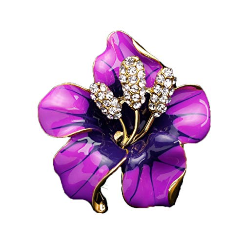 (Fashionable Brooches Pins Women Bouquet Flower Wedding Created Crystal Brooch, Purple)